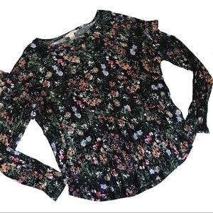 H&M Floral Peplum Sleeve Scoop Neck Top NWT Sz XL